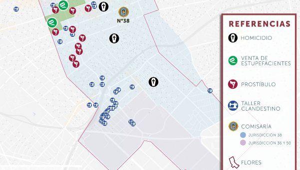 El mapa del delito de Flores, según La Alameda