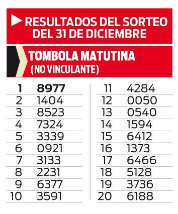 TOMBOLA MATUTINA DEL 31 DE DICIEMBRE
