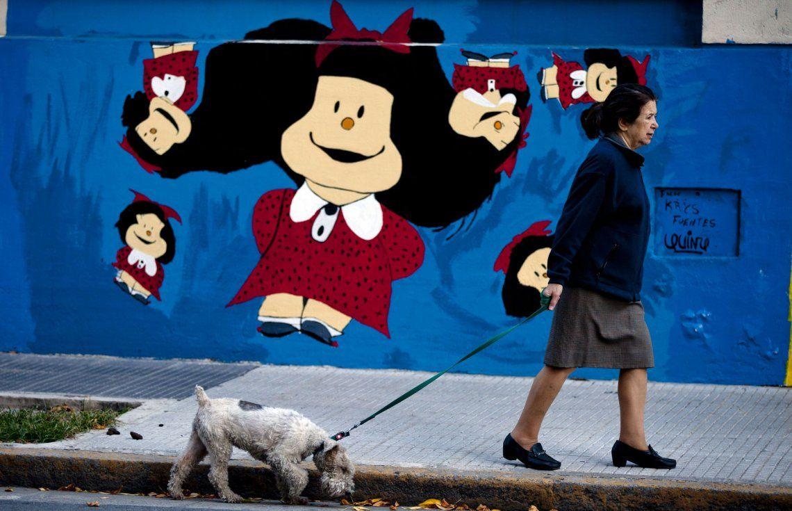 Mural de Mafalda en Buenos Aires, frente al Hospital de Niños<br>