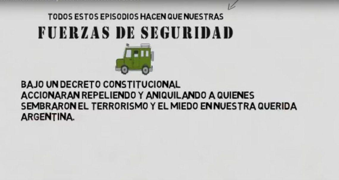 Escándalo por video: para una escuela de La Boca, los genocidas fueron héroes