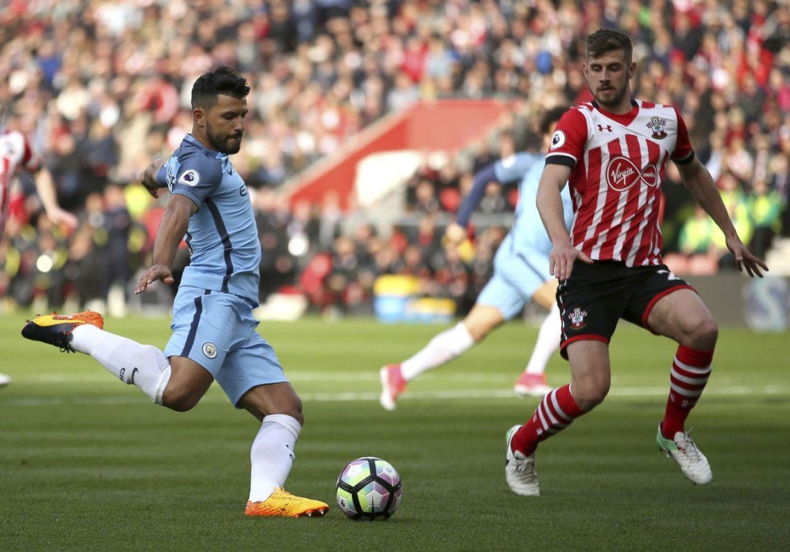 Con un gol de Agüero, el City goleó a Southampton