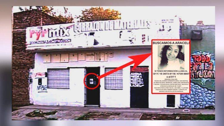 En el corralón donde trabaja el prófugo hay carteles de la búsqueda de Araceli
