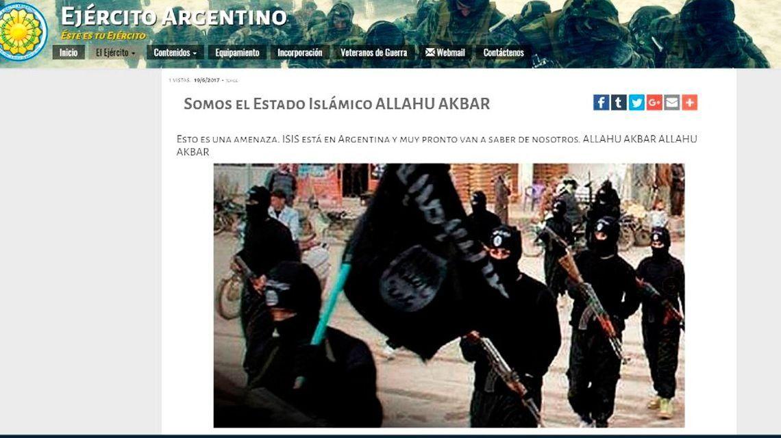 Hackearon la web del Ejército con referencias a ISIS