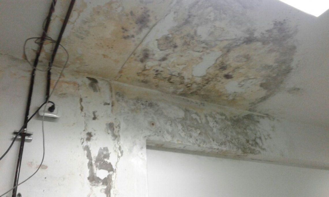 Las filtraciones deterioraron el techos de dos aulas de la escuela
