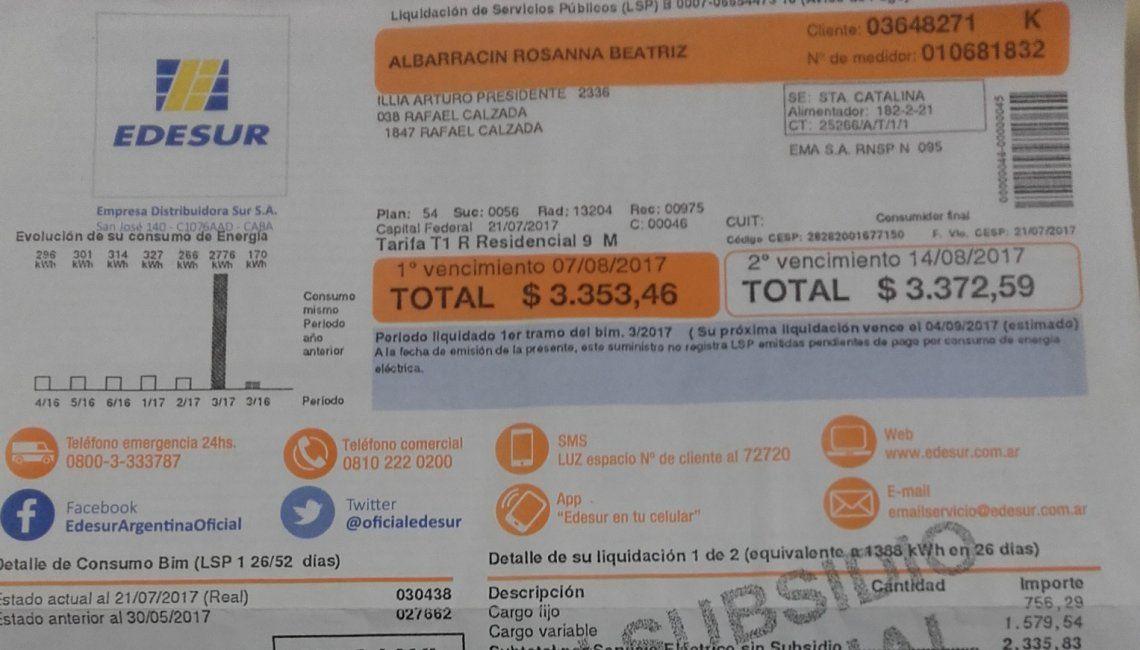 Boletas de EDESUR dejan shockeados a usuarios