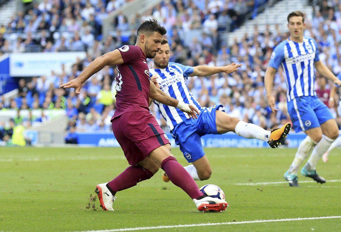 Con gol del Kun, el City arrancó con un triunfo en su visita al Brighton