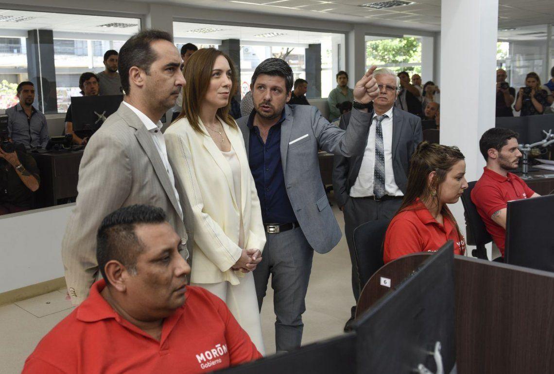 Vidal visitó el nuevo centro de Operaciones y Monitoreo de Morón
