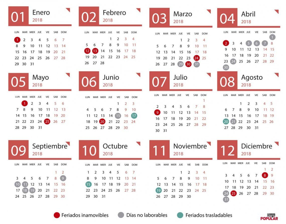 Calendario Diciembre 2018 Argentina.Feriados En Argentina 2018 Feriados