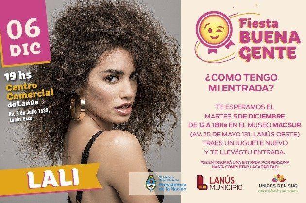 Lali Espósito brindará un show a beneficio en Lanús