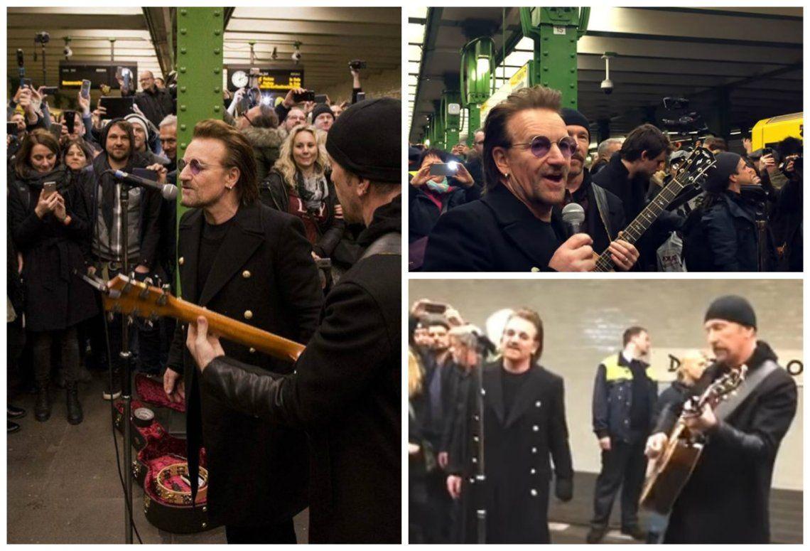 U2 sorprendió a sus fans y brindó un show sorpresa en estación de subte en Berlín