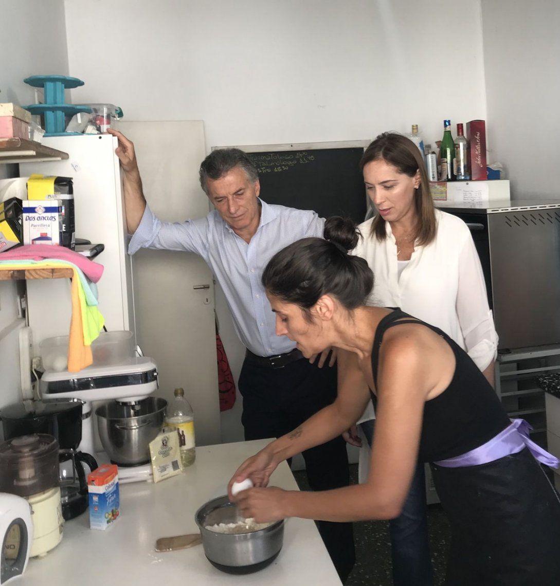 Macri y Vidal visitaron a una emprendedora en La Matanza