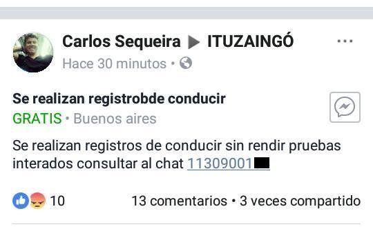 Ituzaingó: ofrecían licencias de conducir sin exámen a través de Facebook