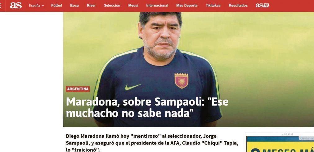 dEl diario deportivo As de España les dio difusión a los dichos de Diego.