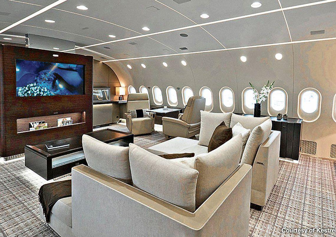 dEl interior de un Boeing Bussiness Jet (BBJ) que originalmente había sido elegido y luego desechado.