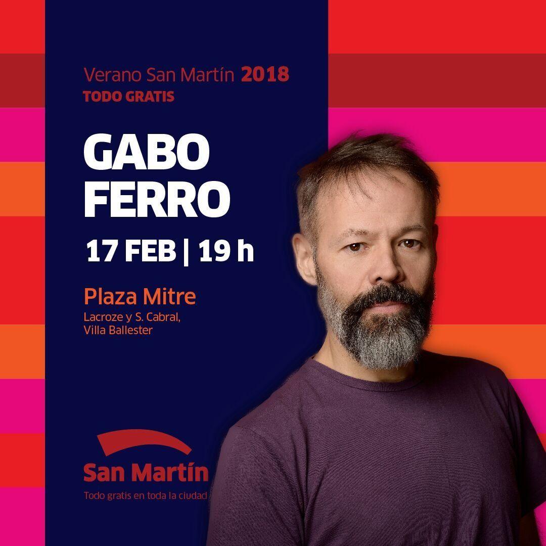 Este sábado, Gabo Ferro se presenta en San Martín