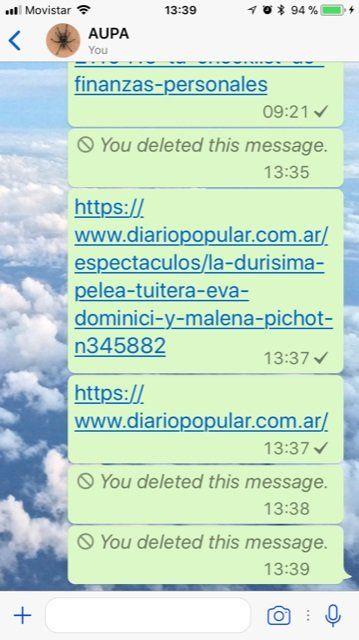 Chau peleas: se podrán borrar los mensaje de WhatsApp luego de una hora