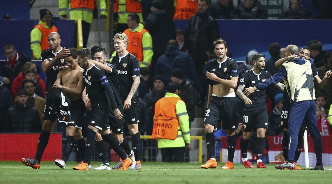 Sevilla eliminó al United en Manchester y pasó a cuartos de las Champions