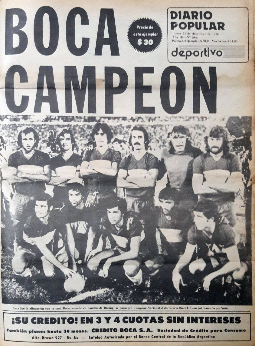 La tapa de DIARIO POPULAR reflejaba el título de Boca en la primera final que se disputó contra River