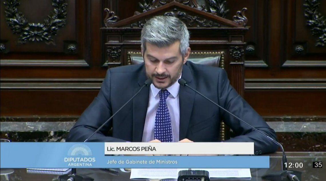 Marcos Peña brindó el primer informe del año en Diputados