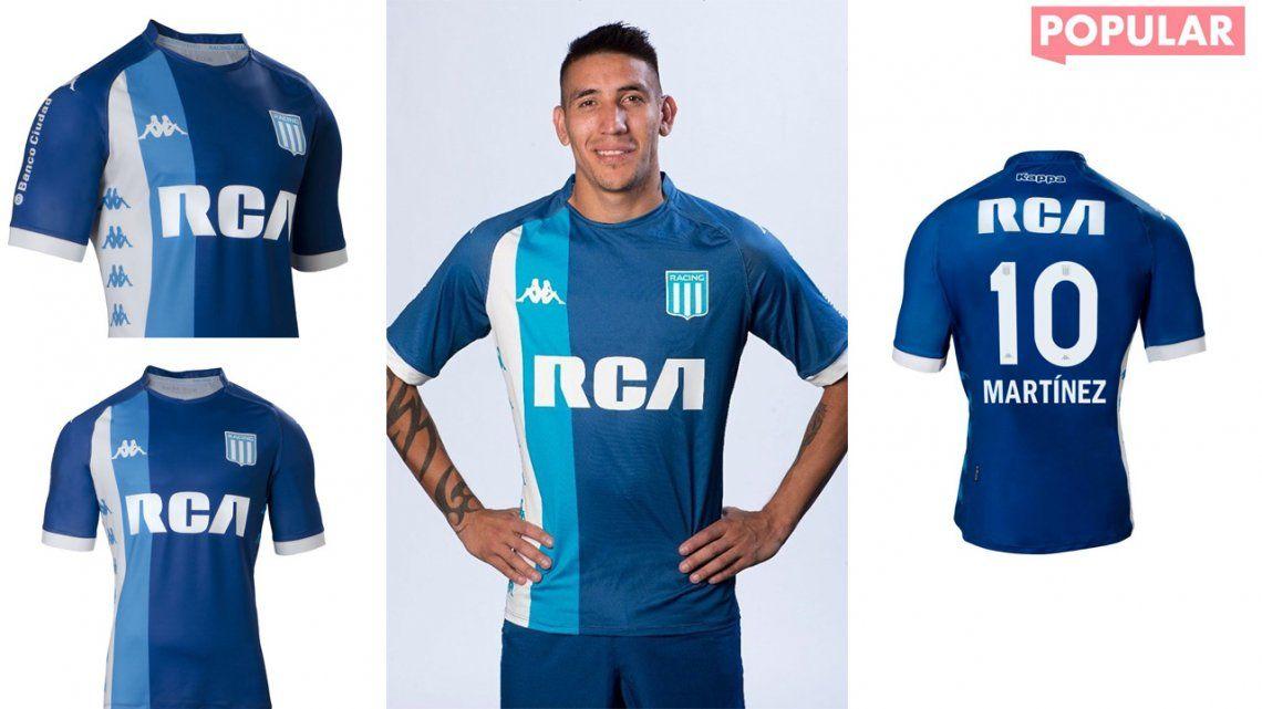 Con Ricky Centurión como modelo, Racing presentó su nueva camiseta suplente