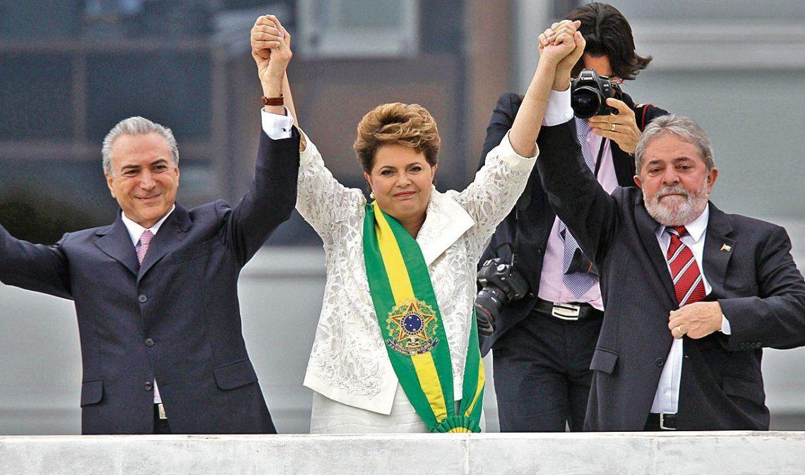 dTemer junto a Dilma y Lula en la asunción de la presidenta en enero de 2011.