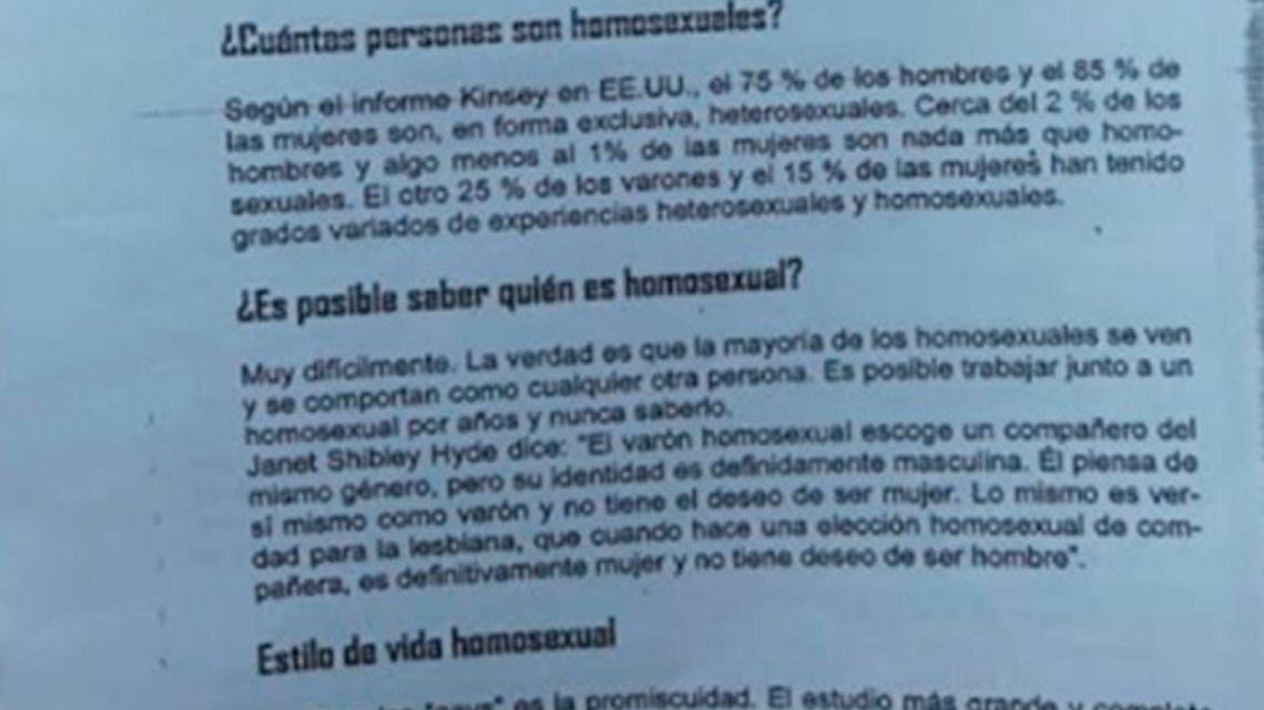 El Inadi condenó por homofóbico el manual de una escuela de Paraná