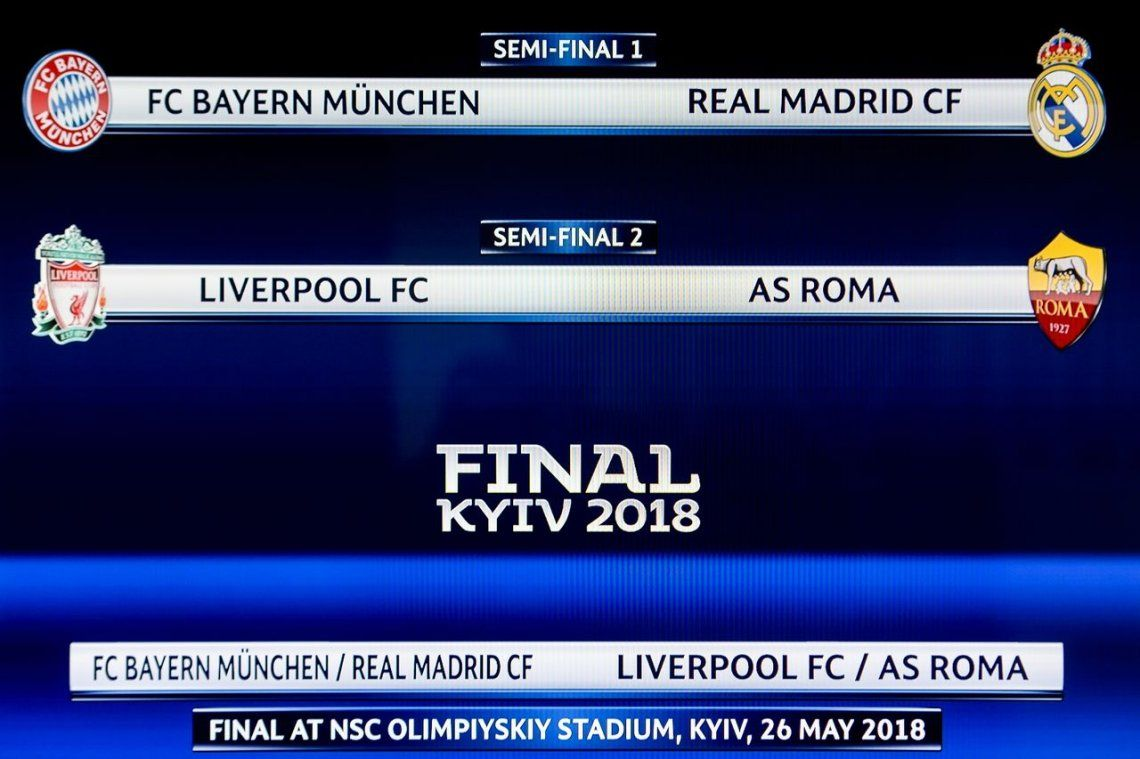 Bayern Munich-Real Madrid y Liverpool-Roma, las semifinales de la Champions League