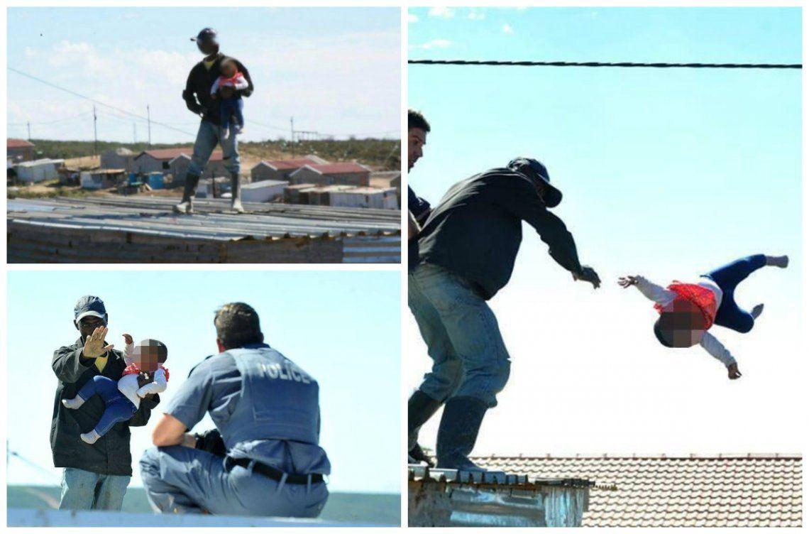Dramático: arrojó a su hijo desde un techo en protesta por la demolición de su casa