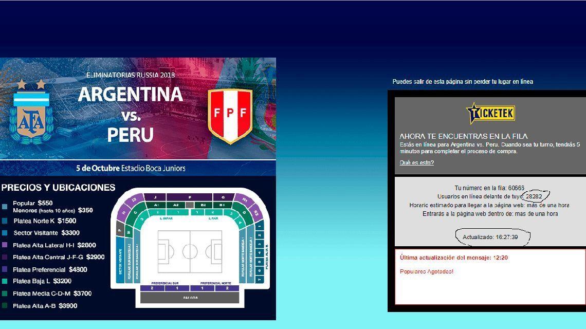 La queja de un usuario durante la venta de entradas para el último partido que la Selección jugó de local