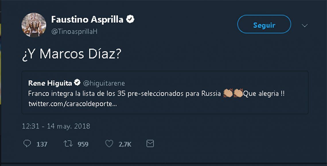 El Tino Asprilla, admirador de Armani, cargó a Marcos Díaz por Twitter