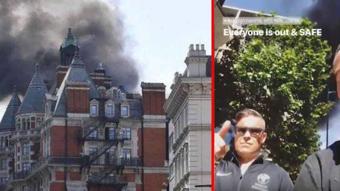 Video | Robbie Williams debió ser evacuado de un hotel que se prendió fuego