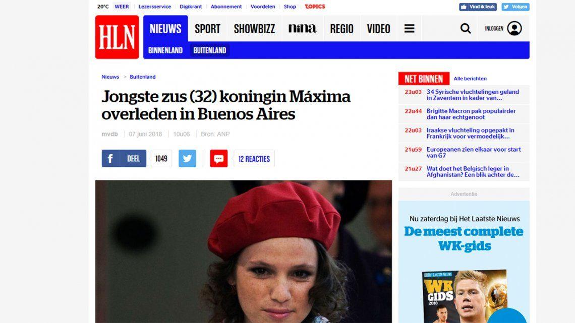 Así reflejaron los principales diarios del mundo la muerte de la hermana deMáxima