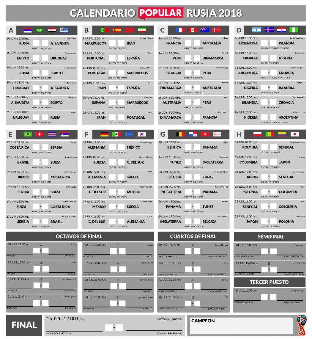 El fixture del Mundial de Rusia 2018: a qué hora se juegan y cómo ver los 64 partidos