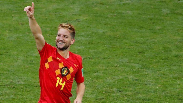 Dries Mertens festeja el 1-0 para Bélgica.