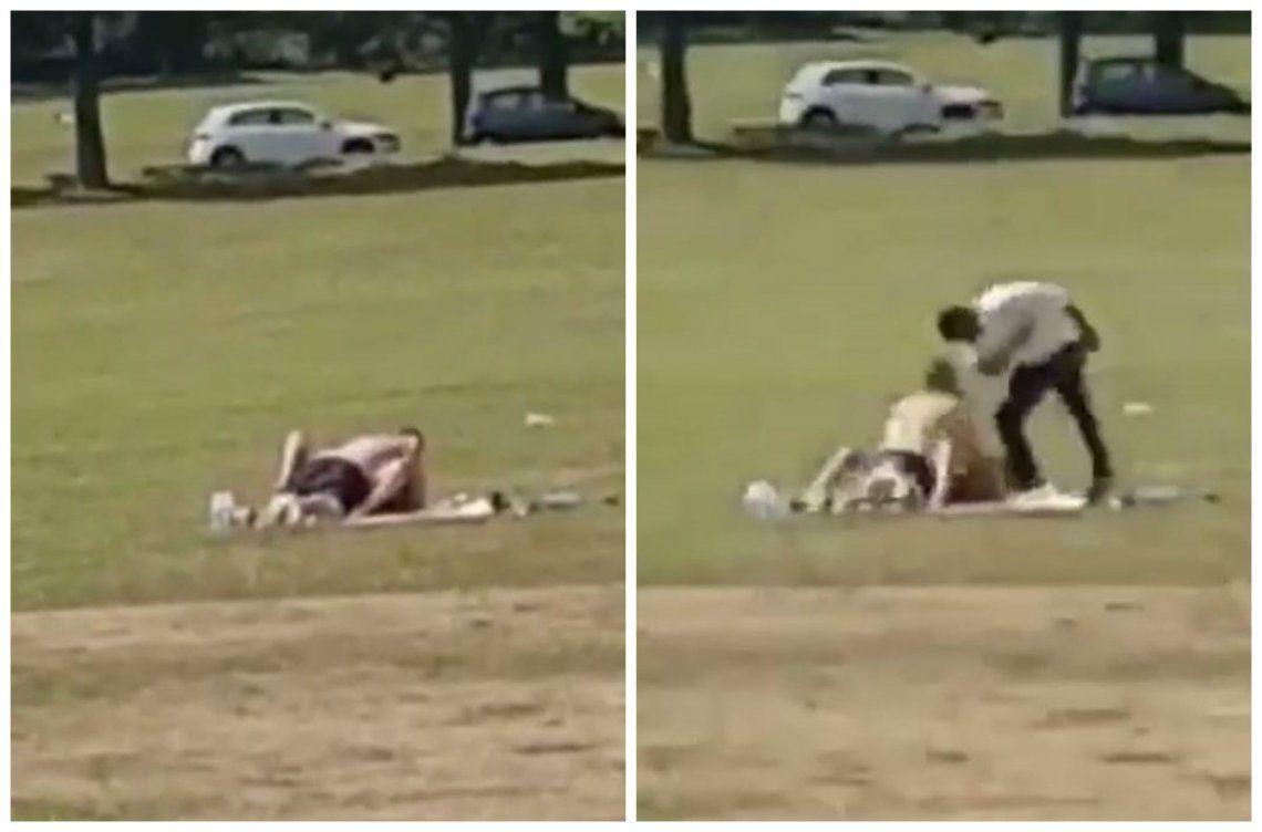 Video | Padres enfurecidos interrumpen a golpes a pareja que tenía sexo en pleno parque
