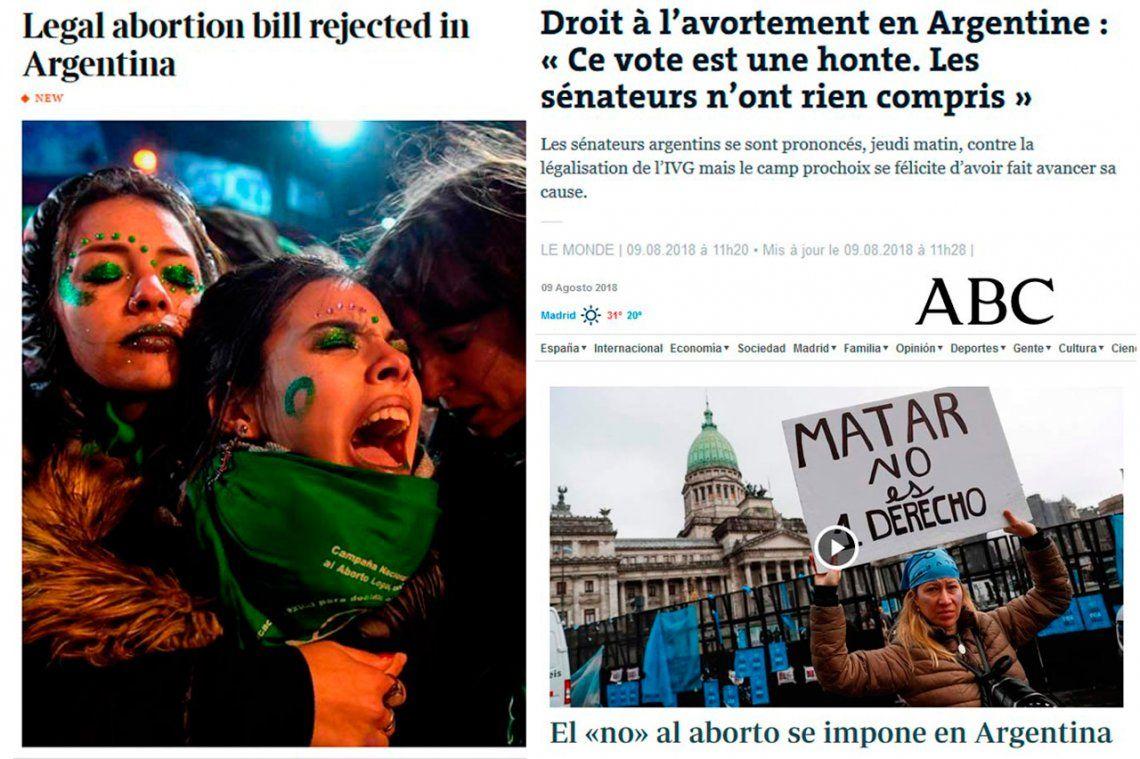 Así reflejaron los medios del mundo el rechazo al proyecto de legalización del aborto