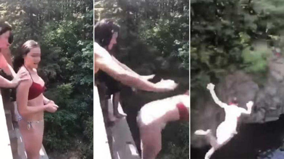 VIDEO | Impactante momento en el que empujan a una chica al vacío