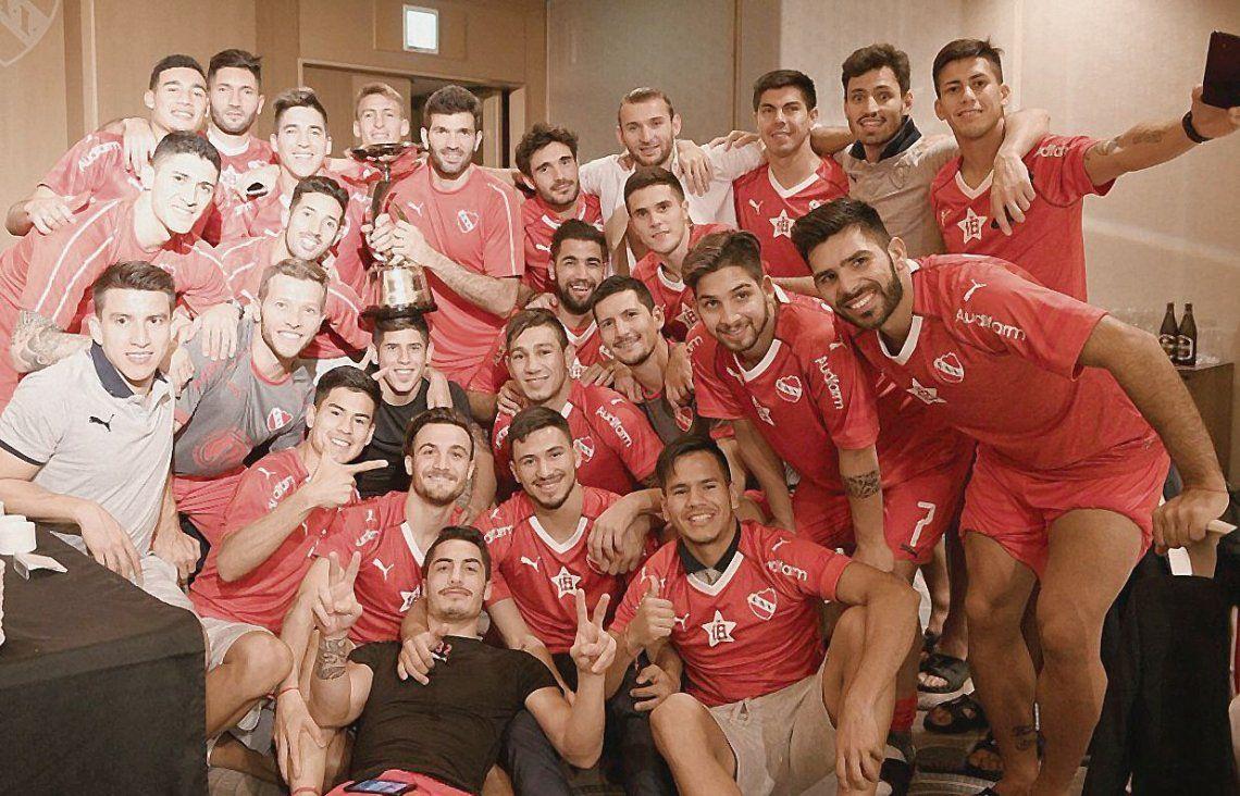 El festejo íntimo de los jugadores de Independiente