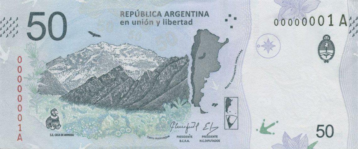 Desde mañana entra en circulación el nuevo billete de $50 con la imagen del cóndor