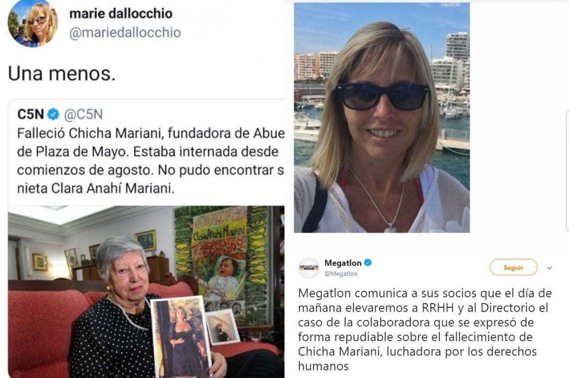 Una gerenta de Megatlón lanzó un repudiable tuit por la muerte de Chicha Mariani y la empresa salió a pedir perdón