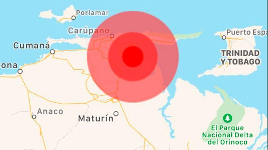 Un sismo de magnitud 6,3 sacudió a Venezuela