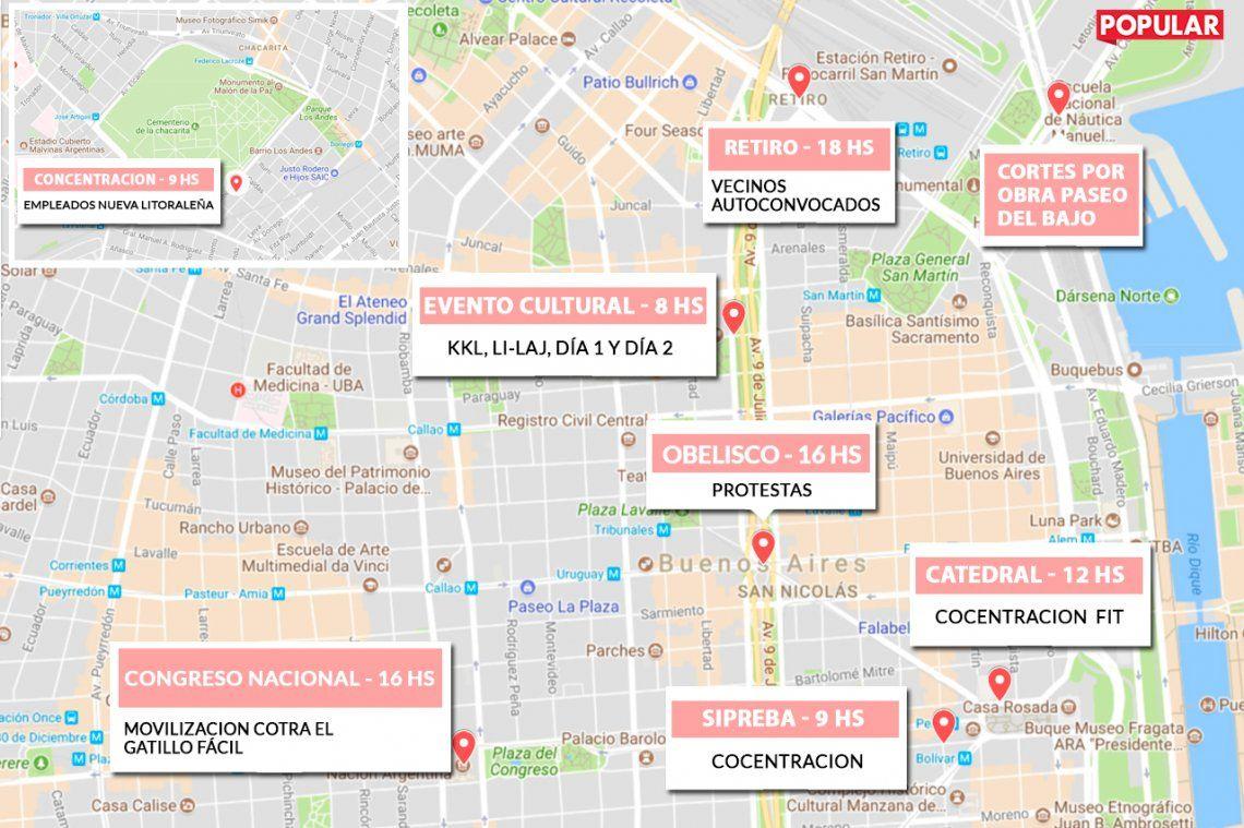 Mapa | Lunes de manifestaciones y cortes de calles en la Ciudad