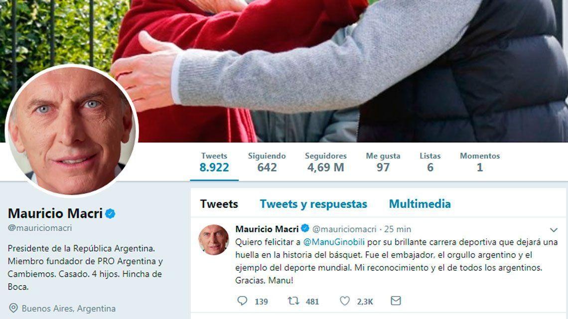 Macri también saludó a Ginóbili tras su retiro