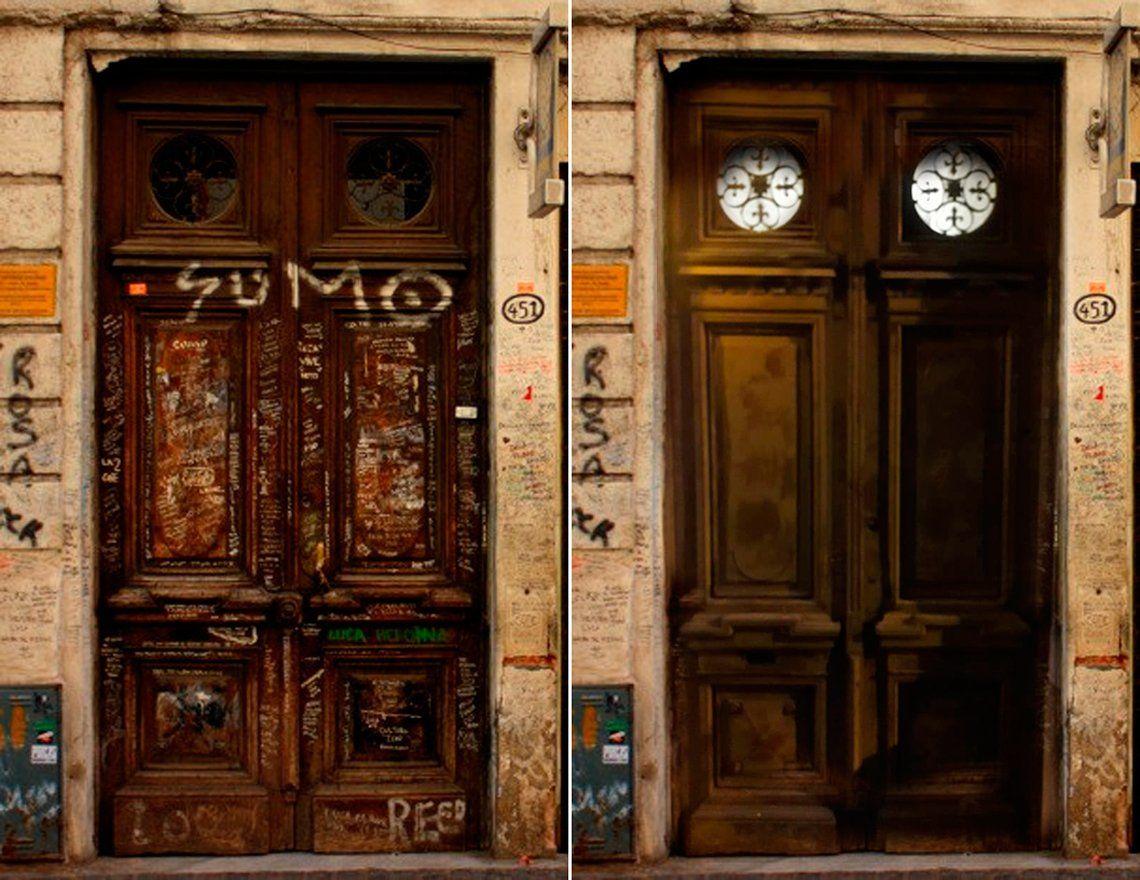El Gobierno de la Ciudad pintó las históricas puertas de la casa donde murió Luca Prodan