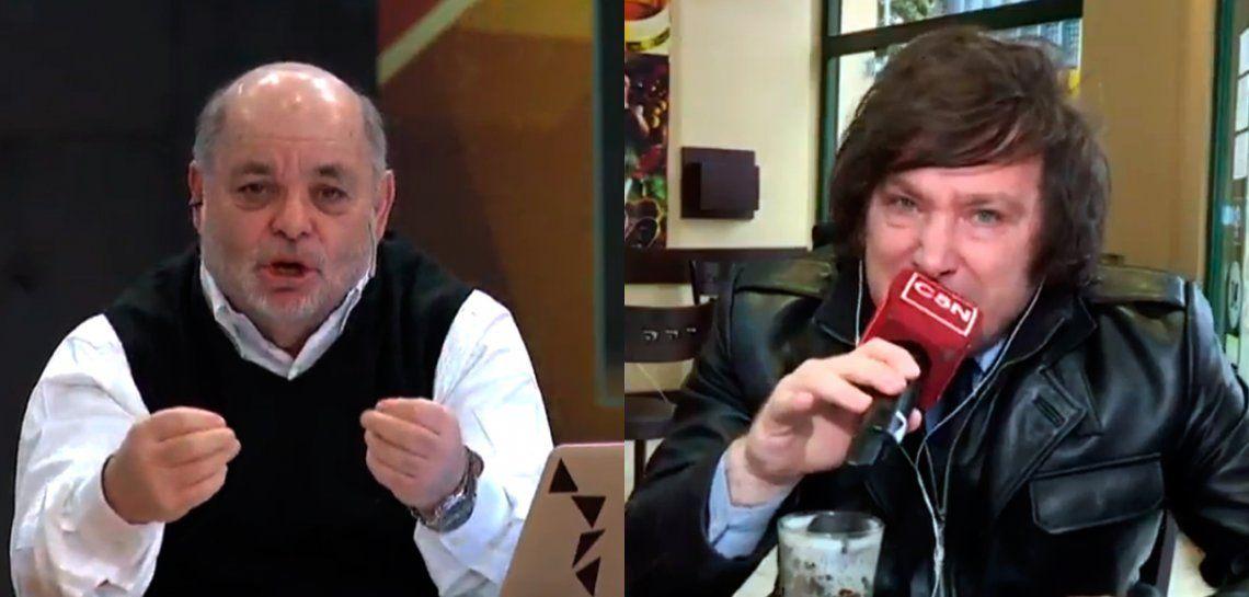 Enfurecido con Tuny Kollmann, Javier Milei dejó un móvil en vivo