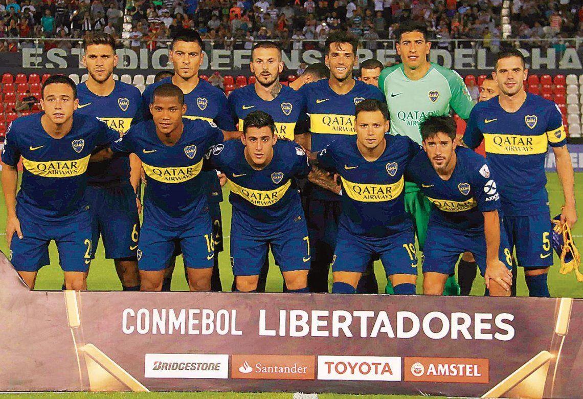 El equipo titular de Boca que salió a jugar la revancha contra Libertad en Asunción.
