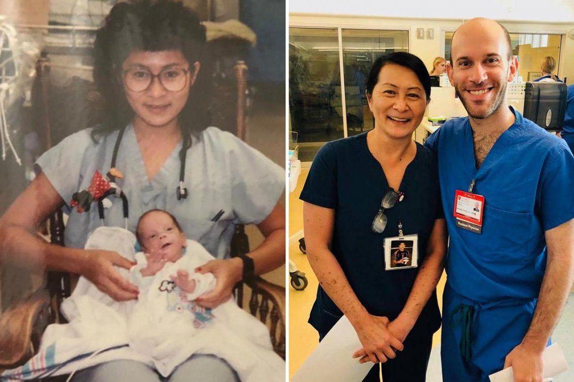 Salvó a un bebé hace 28 años y ahora es su compañero de trabajo: así fue el emotivo reencuentro