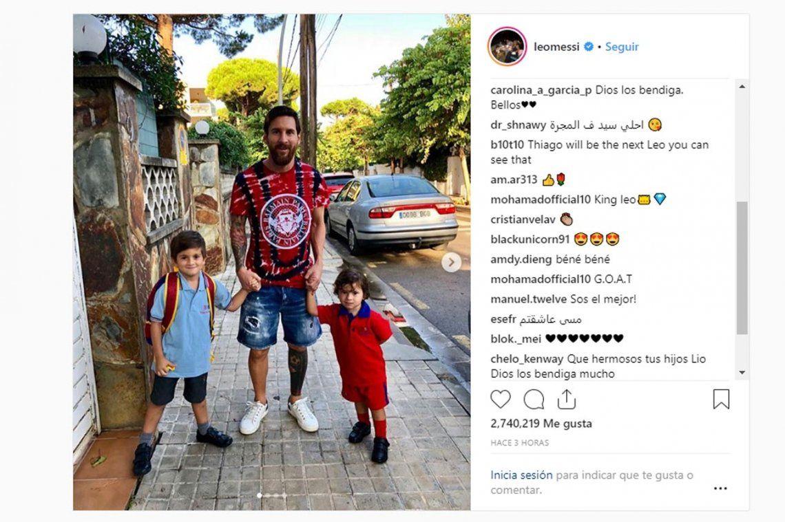 Lejos de la selección: Lionel Messi disfruta de cosas simples, como llevar a sus hijos a la escuela