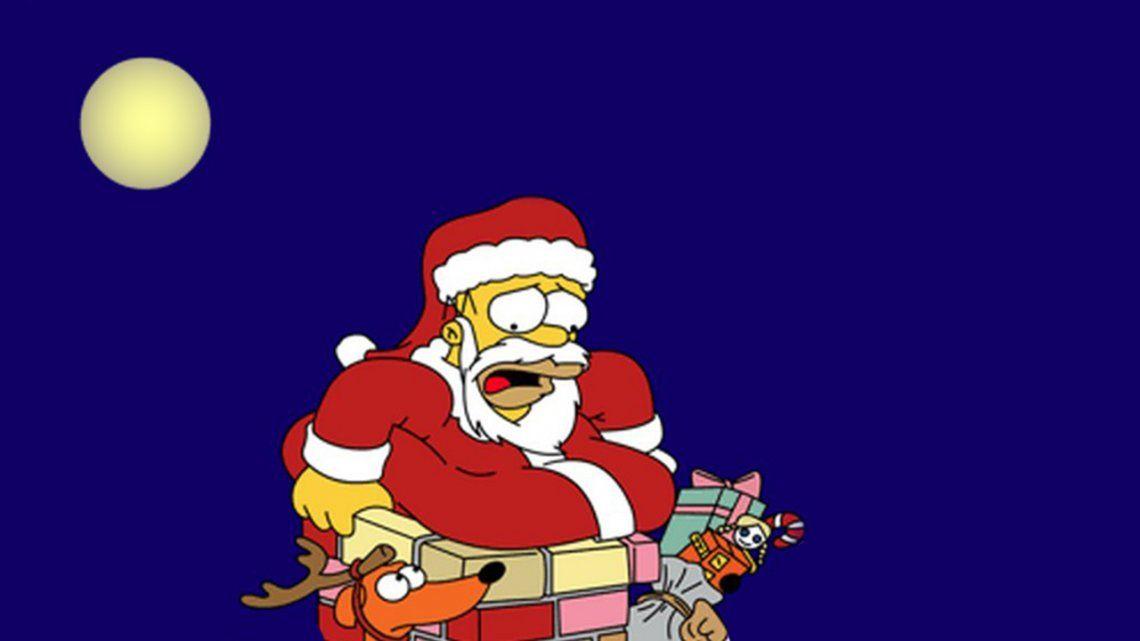 Video | Como en Los Simpson: entró a robar, quiso escapar a lo Papá Noel y acabó atrapado en la chimenea