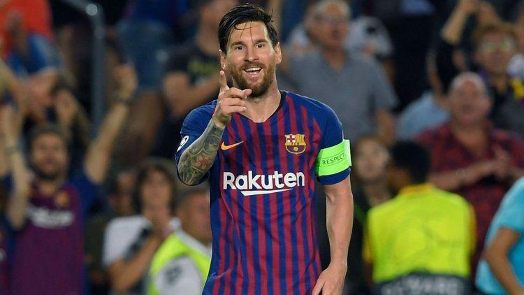 Messi festejando en la Champions antes del cambio de look